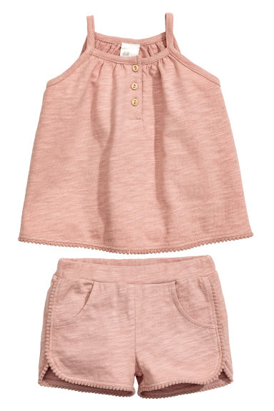 Cotton dress and shorts - Dusky pink - Kids | H&M CN