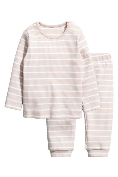 Cotton jersey top and trousers - Light beige/Striped - Kids | H&M CN