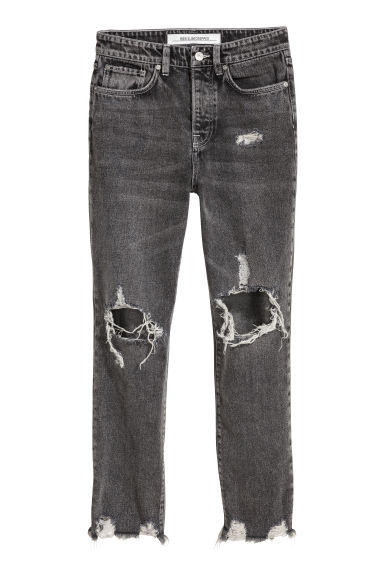 Slim High Cropped Jeans - Black washed out -  | H&M