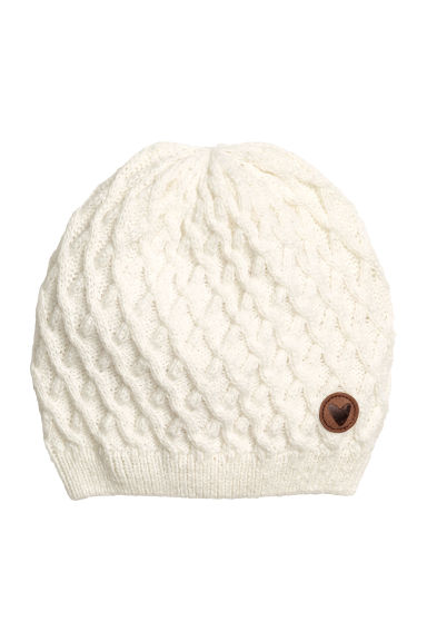 Textured-knit hat - Natural white - Kids | H&M