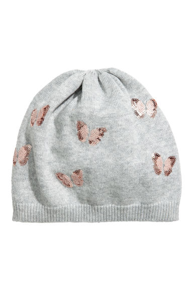 Fine-knit hat with sequins - Grey/Butterflies -  | H&M CN