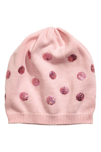 Fine-knit hat with sequins - Light pink/Spotted -  | H&M CN