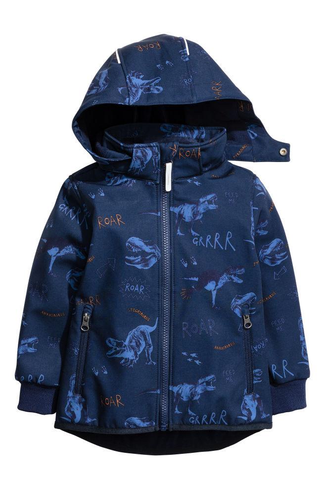 Softshellová bunda - tmavomodrá dinosaury - DETI  b30e6b4decd