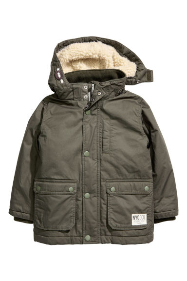 Padded parka - Dark khaki green - Kids | H&M CN