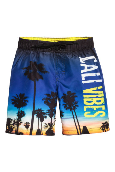 Printed swim shorts - Cornflower blue/Palms -  | H&M CN