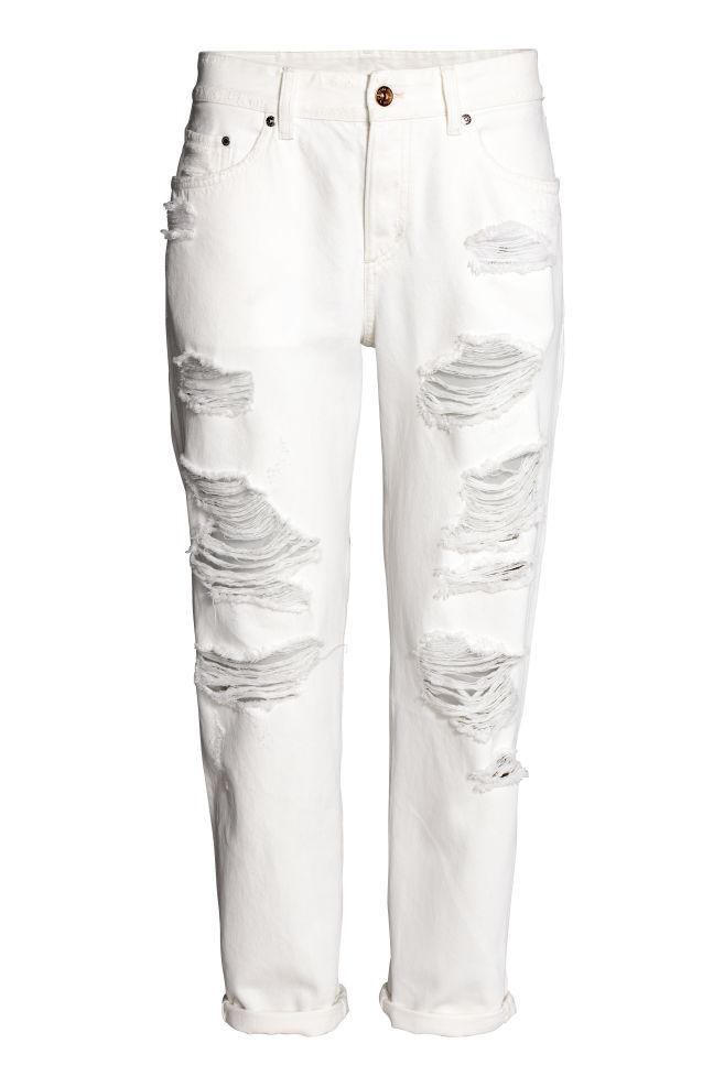 d80474dcf17f Boyfriend Low Ripped Jeans - Denim blanc - FEMME