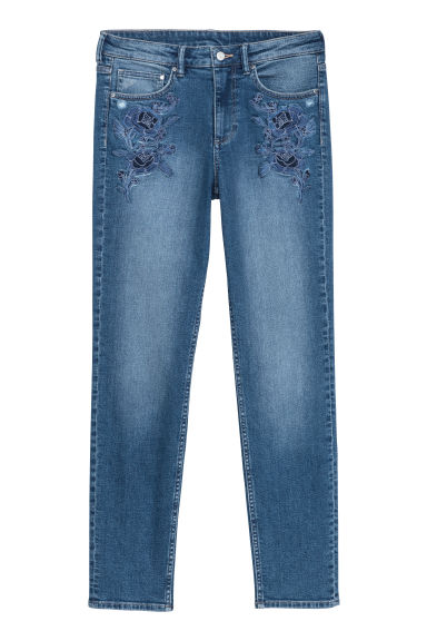 Slim Regular Boyfriend Jeans - 深蓝色 - Ladies | H&M CN