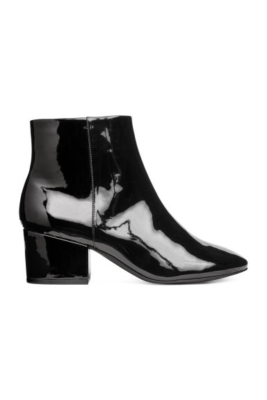 Zipped ankle boots - Black/Patent - Ladies | H&M