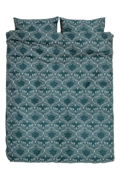 Patterned duvet cover set - Dark petrol - Home All | H&M CN