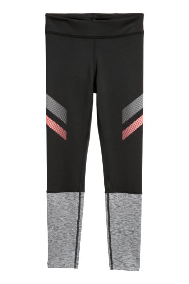 Sports tights - Black/Grey marl -  | H&M CN