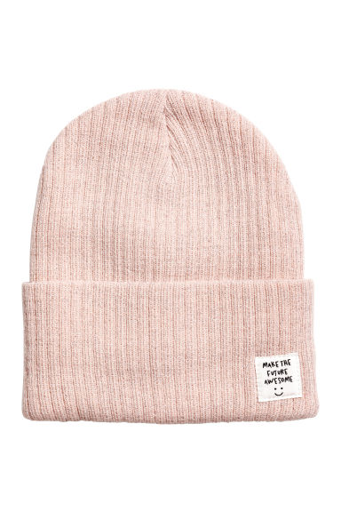 Rib-knit hat - Powder pink/Glittery - Kids | H&M GB