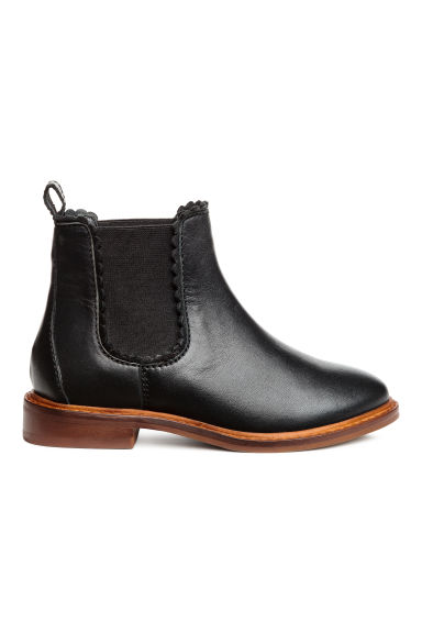 Leather jodhpur boots - Black -  | H&M