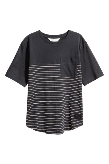 Block-coloured T-shirt - Black/Striped -  | H&M CN