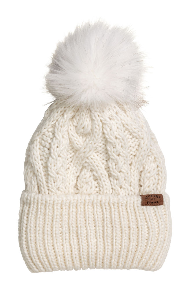 Cable-knit hat - Cream - Kids  91d465f3aad
