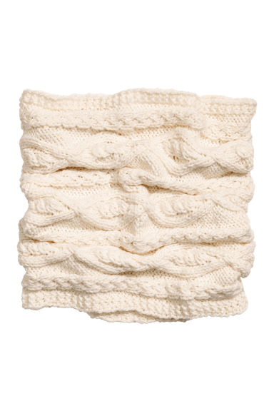 Cable-knit tube scarf - Natural white - Kids | H&M
