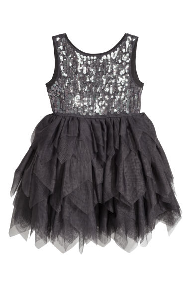 Sequined tulle dress - Dark grey -  | H&M CN