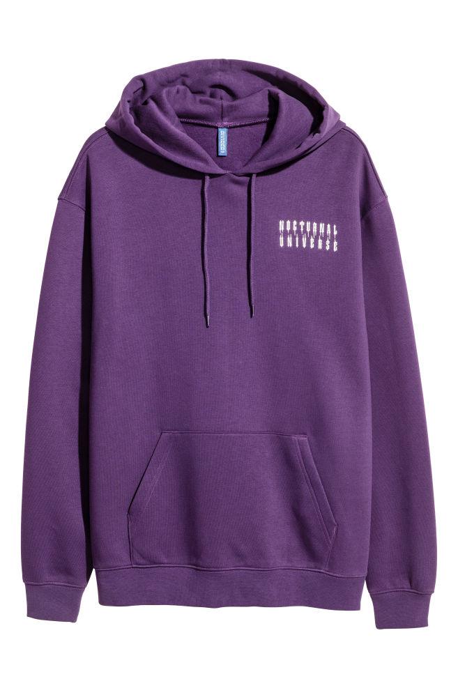 2a975193b1ee Hooded Sweatshirt with Motif - Purple - Men