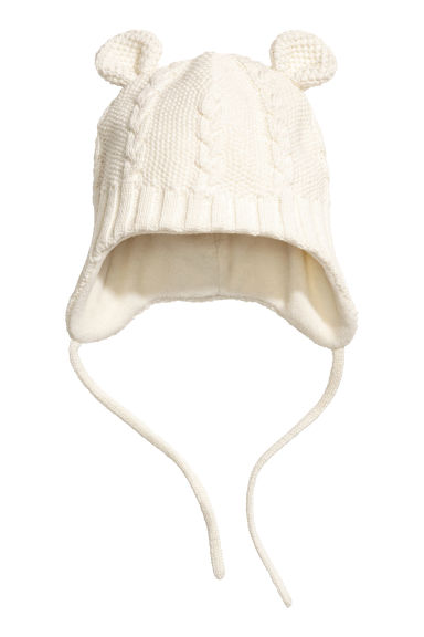 Fleece-lined hat - Natural white -  | H&M CN