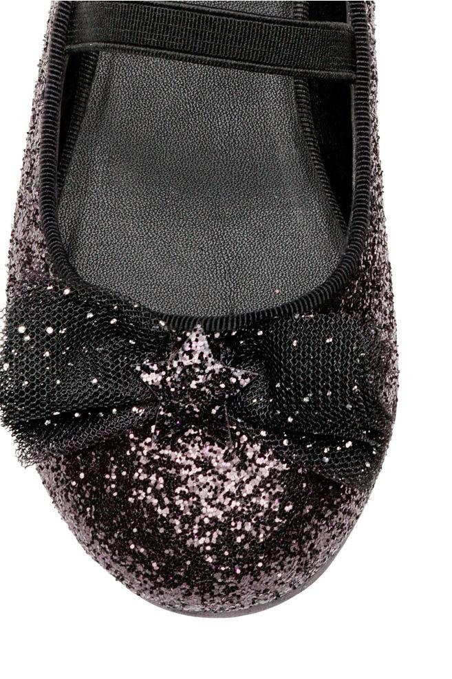 bea0b7b32e1 ... Ballerinaskor - Svart/Paljetter - BARN | H&M ...