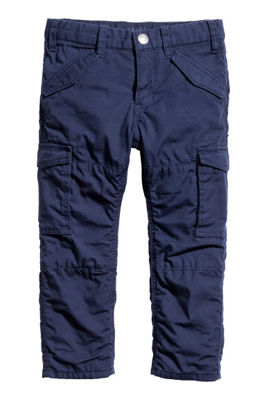 Lined cargo trousers - Dark blue -  | H&M GB