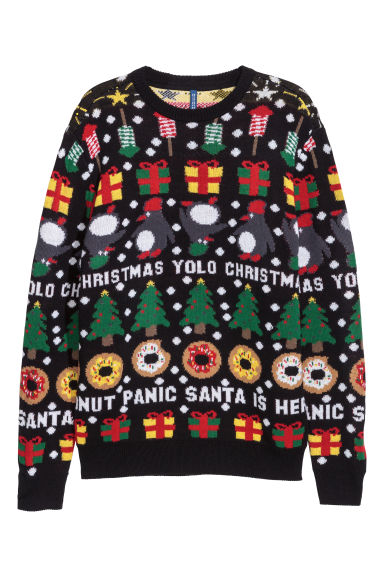 Jacquard-knit Christmas jumper - Black/Patterned -  | H&M CN
