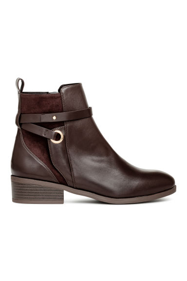 Boots with straps - Dark brown -  | H&M