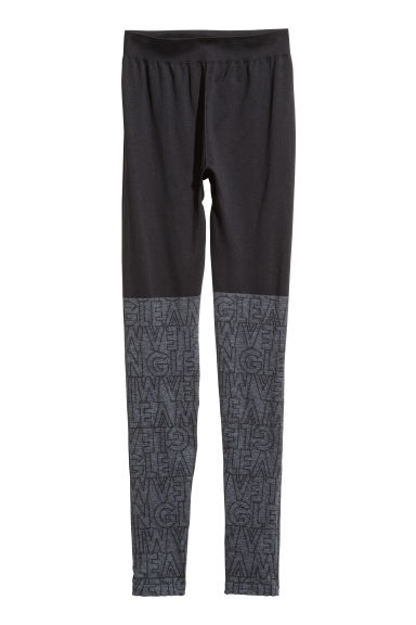 Seamless sports tights - Grey/Black - Ladies | H&M