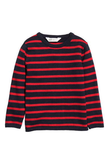Fine-knit cotton jumper - Red/Blue striped -  | H&M