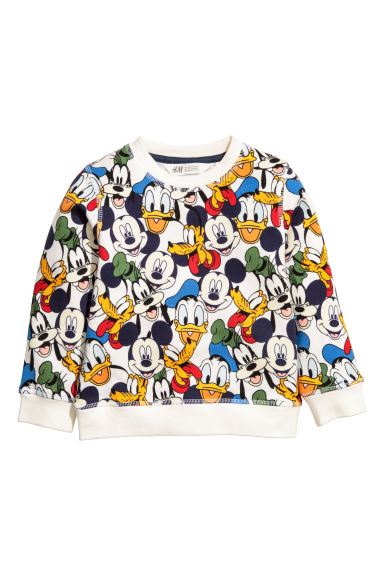 Sweat-shirt avec impression - Écru/Mickey -  | H&M BE