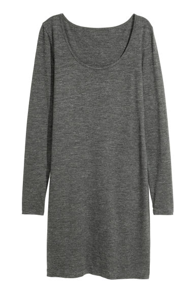 Short jersey dress - Dark grey marl - Ladies | H&M CN