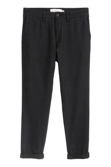 Cotton flannel trousers - Black - Men | H&M GB
