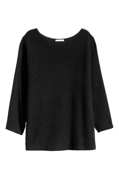 Rib-knit jumper - Dark grey marl -  | H&M