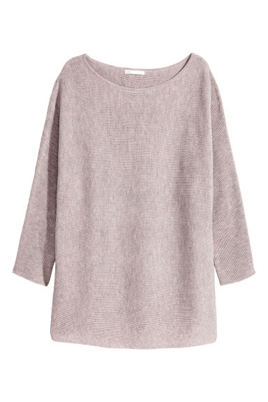 Rib-knit jumper - Lilac grey marl -  | H&M