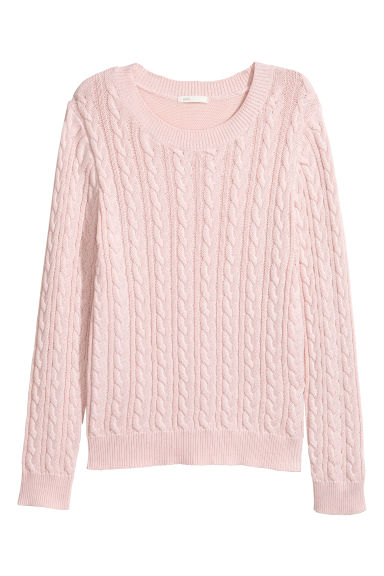 Cable-knit jumper - Light pink -  | H&M GB