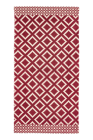 Patterned cotton rug - Natural white/Dark red - Home All | H&M GB