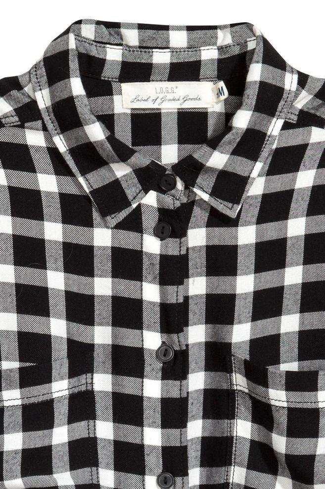 Overhemd Zwart Wit.Flanellen Overhemd Zwart Wit Geruit Dames H M Nl