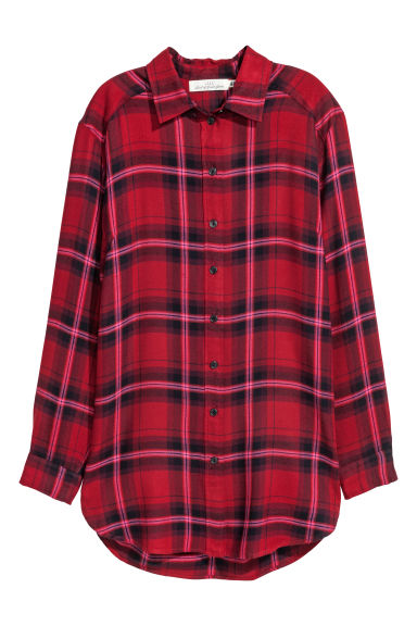 Long flannel shirt - Red/Checked - Ladies | H&M