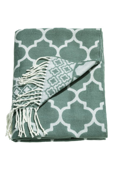 Jacquard-weave blanket - Grey green - Home All | H&M CN