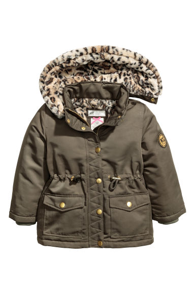 Parka with a hood - Dark green/Leopard -  | H&M IE