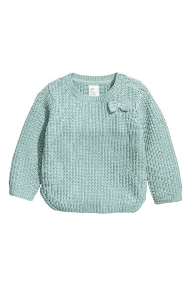 Ribbed jumper - Mint green/Silver-coloured - Kids | H&M