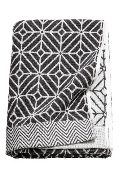 Jacquard-weave bath towel - White/Anthracite -  | H&M IE