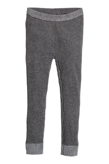 Ribbed leggings - Dark grey marl -  | H&M CN