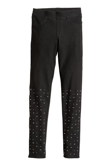 Jersey leggings - Black/Sparkly stones -  | H&M CN