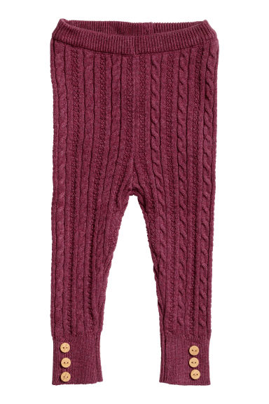Knitted leggings - Raspberry pink -  | H&M