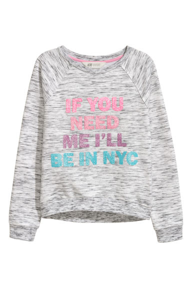 Sweatshirt with a motif - Light grey/Black marl - Kids | H&M CN