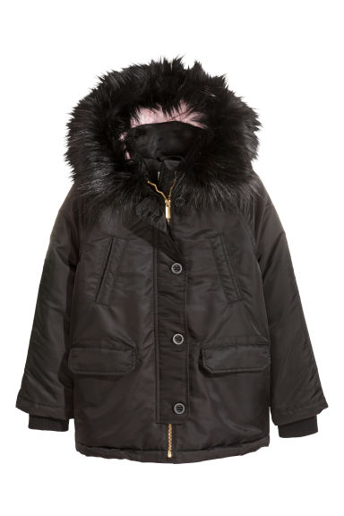 Padded parka with a hood - Black -  | H&M IE
