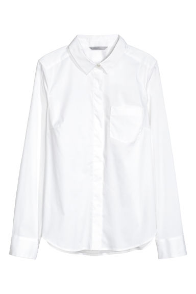 Fitted shirt - White - Ladies | H&M