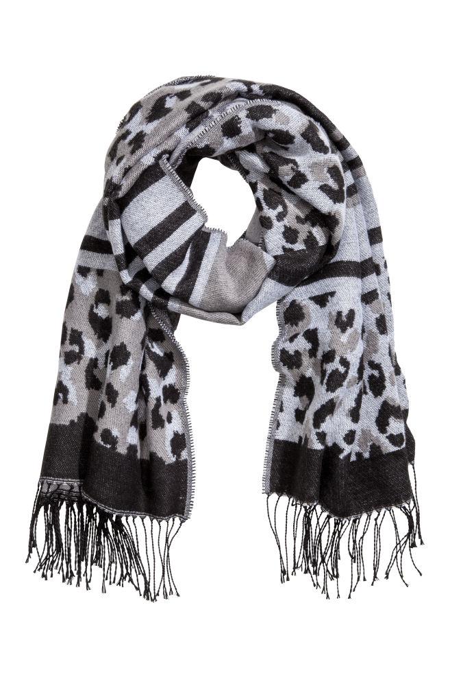 d0308cf7fa Jacquard szövésű sál - Szürke/leopárdmintás - | H&M ...