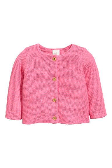 Garter-stitch cotton cardigan - Pink - Kids | H&M GB