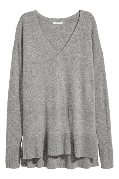 V領喀什米爾套衫 - Grey marl - Ladies | H&M